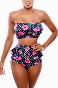 Black Bandeau Swimwear Top & Ruffle High Waisted Swimsuit