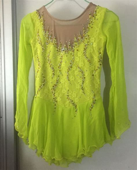 figure skating dress competition hot sale green ice