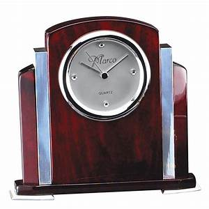 Chrome, Accent, Rosewood, Engraved, Desk, Clock
