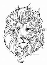 Coloring Lion Adult Printable Fantasy Painting sketch template