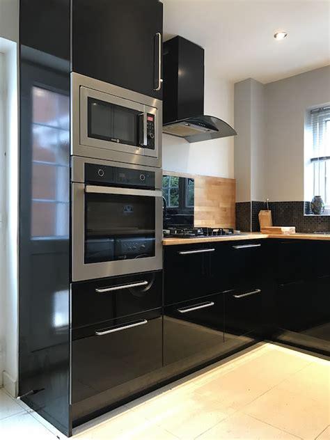 black gloss kitchen ideas black high gloss kitchen with slimline pantry kitchen city