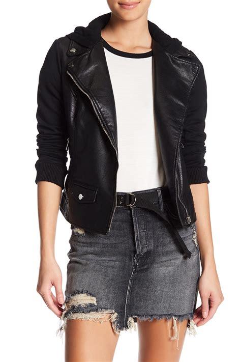 bnci by blanc noir hooded faux leather moto jacket
