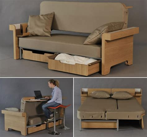 transforming sofa converts into dining table and bed for two
