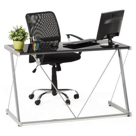 bureau design verre metal bureau design bary en verre et métal noir transparent
