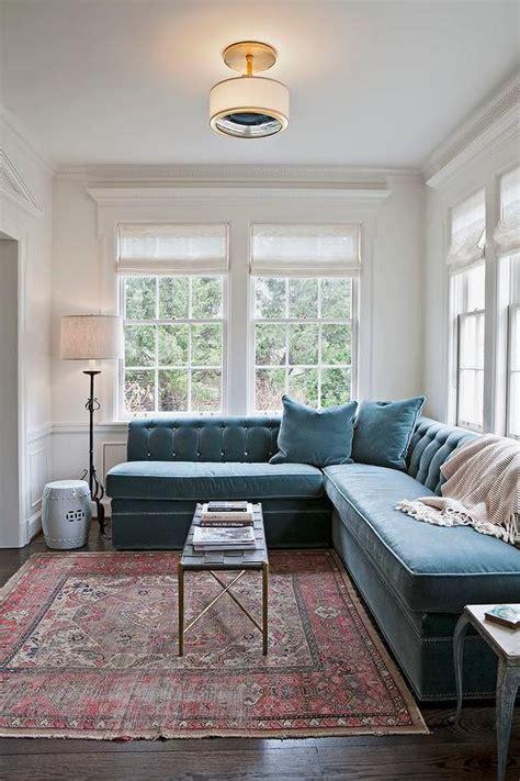 blue velvet sofa living room tufted red velvet sectional sofa design ideas