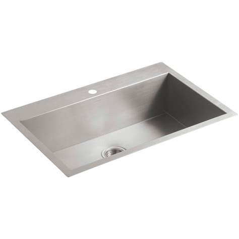 undermount kitchen sink with faucet holes kohler vault drop in undermount stainless steel 33 in 1 hole single bowl kitchen sink k 3821 1