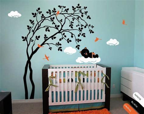 Modern Baby Nursery Wall Decal With Birds, Cute Bear