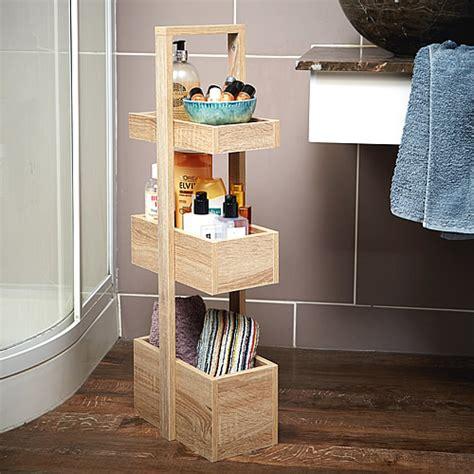 store  tier bathroom storage caddy wood effect