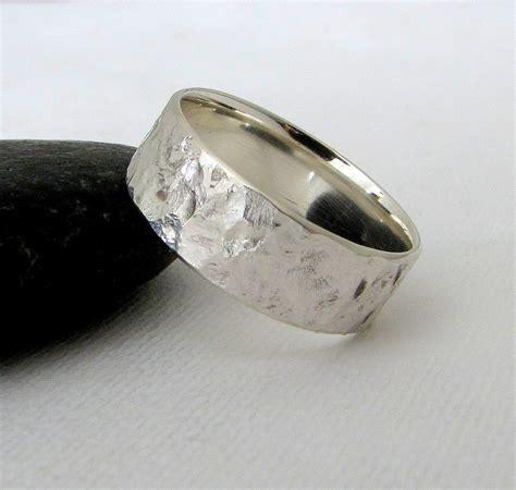 wedding ring silver mens wedding band silver bark wedding ring hammered silver