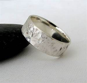 Mens wedding band silver bark wedding ring hammered silver for Silver band wedding rings