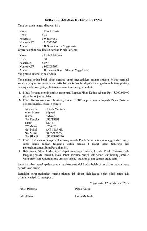 contoh surat pernyataan cicilan hutang usb cable sale