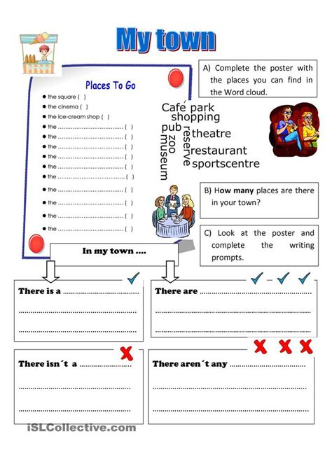 town esl worksheets   day pinterest student