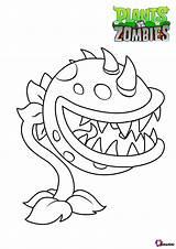 Zombies Plants Vs Chomper Coloring Bubakids Cartoon Printable Dot sketch template