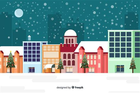 flat christmas background  buildings ready