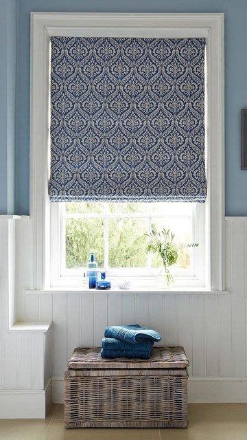 hillarys blue patterned bathroom roman blinds kitchen window coverings living room blinds