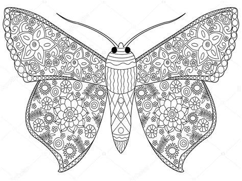 Volwassenen Kleurplaat Mandala Vlinder by Vlinder Kleurplaat Vector Voor Volwassenen Stockvector