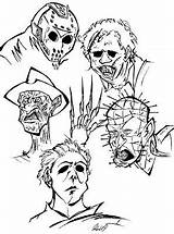 Coloring Pages Horror Jason Voorhees Movies Drawing Adult Colouring Halloween Scary Drawings Sheets Adults Mask Characters Printable Cartoon Books Freddy sketch template
