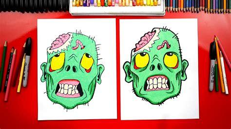 draw  zombie head  halloween art  kids hub