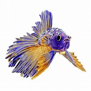 Purple Crowntail Betta Fish Trinket Box With Swarovski