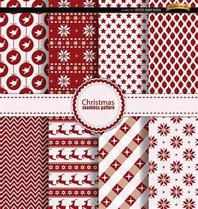 8 padrões de vermelho e branco do Natal