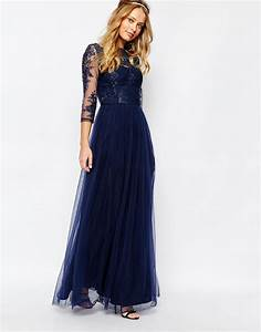 Chi chi london Bardot Neck Maxi Dress With Premium Lace And Tulle Skirt Navy in Blue Save 41