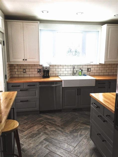 base cuisine before after quot single wide quot kitchen opens up base cabinets butcher blocks and sinks