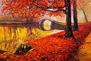painting landscape autumn oil watercolor painting pattern ...