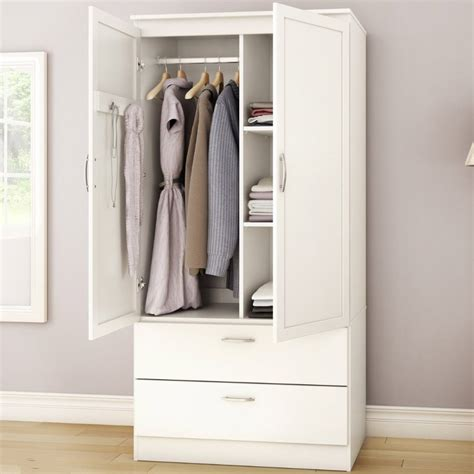 white armoire bedroom clothes storage wardrobe cabinet with 2 drawers fastfurnishings com