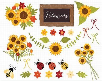 Clip Clipart Sunflower Svg Sunflowers Autumn Fall