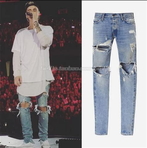 fear  god  version fog men selvedge zipper destroyed torn pants skinny jeans blue jean