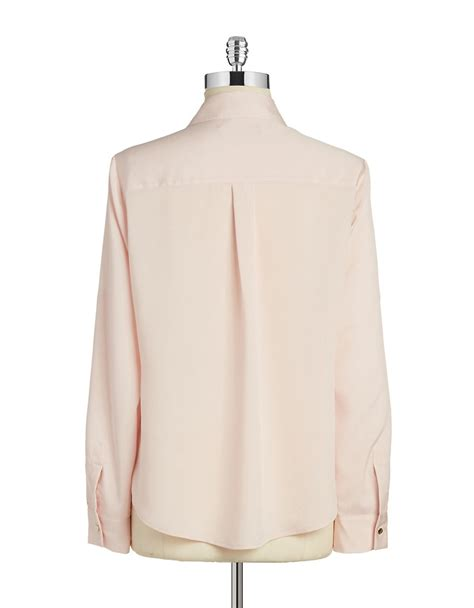 blush blouse ivanka button front blouse in pink blush lyst