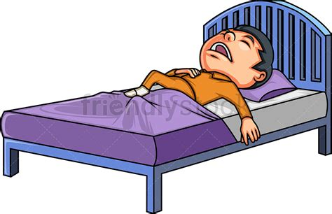 Little Boy In Bed Cartoon Clipart Vector