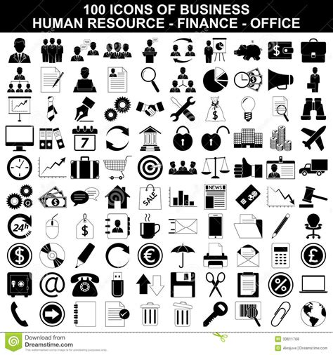 14701 business icon vector set of business icons human resource finance stock