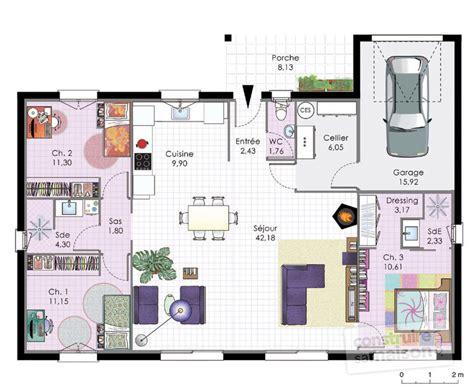 plan maison plain pied 4 chambres garage maison de plain pied dtail du plan de maison