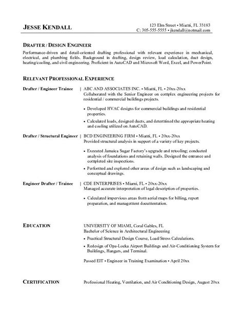 free drafter resume exle
