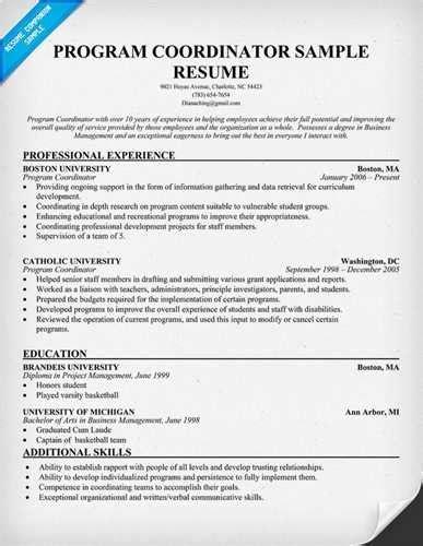 sle youth program coordinator resume