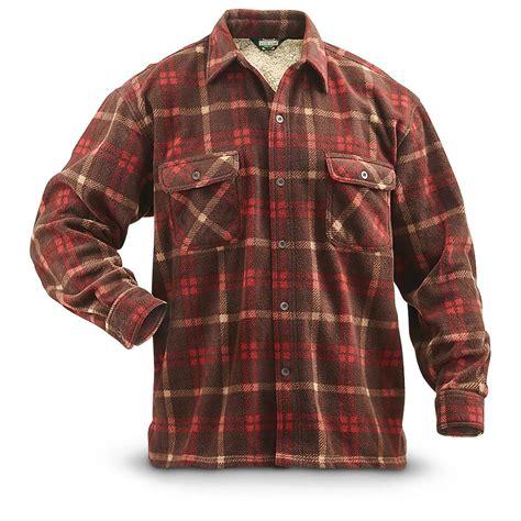 striped fleece lined shirt guide gear 39 s fleece lined cpo shirt print 293308