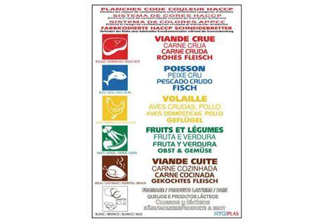 lot couteau de cuisine poster de réglementation des codes couleurs haccp
