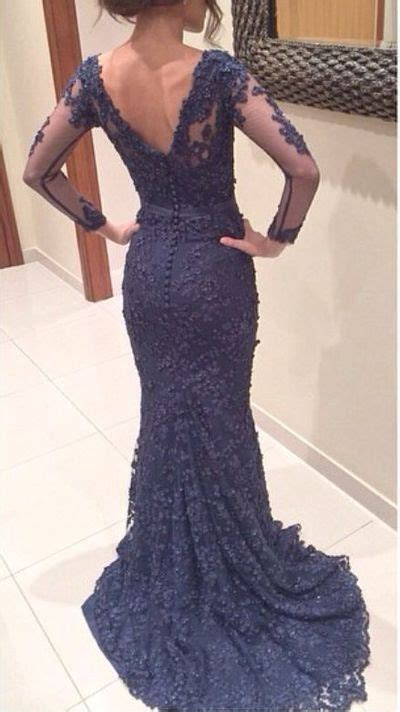 Long Sleeves Mermaid V-neck Applique Sweep Train Lace Prom ...