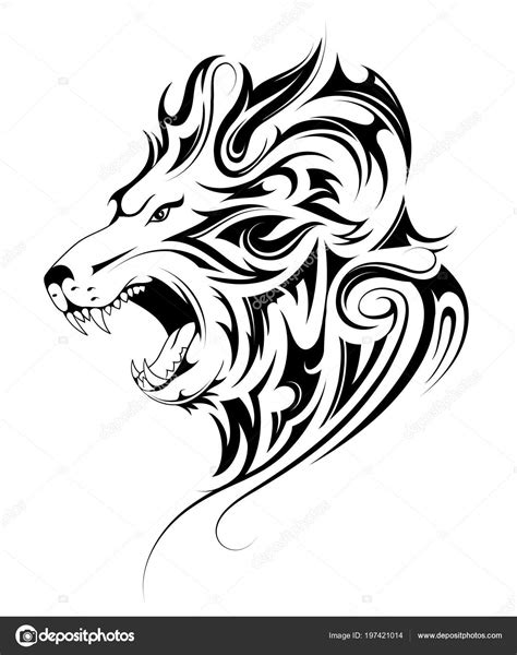 tete de lion tatouage tribal image vectorielle akvlv