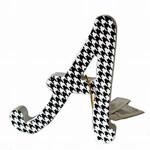 letter a ornament black and white houndstooth wood product With black letter ornaments