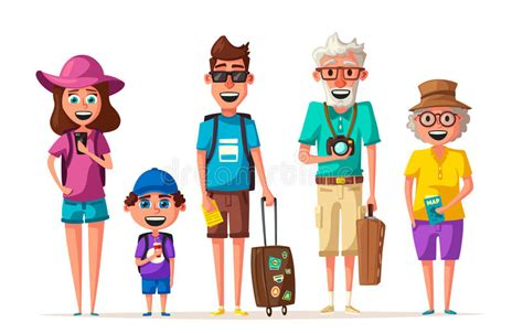 Happy Family In Travel. Journey Of Parents And Child