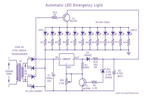 fluorescent light bulb automatic led emergency light circuit