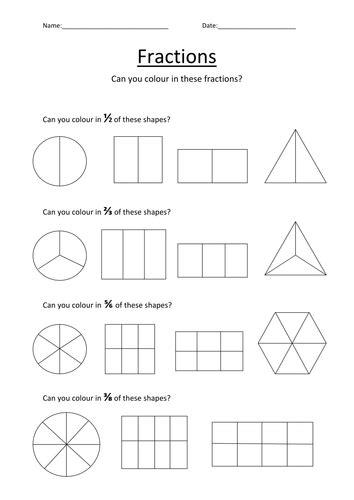 colouring fractions worksheet by kellya89 teaching