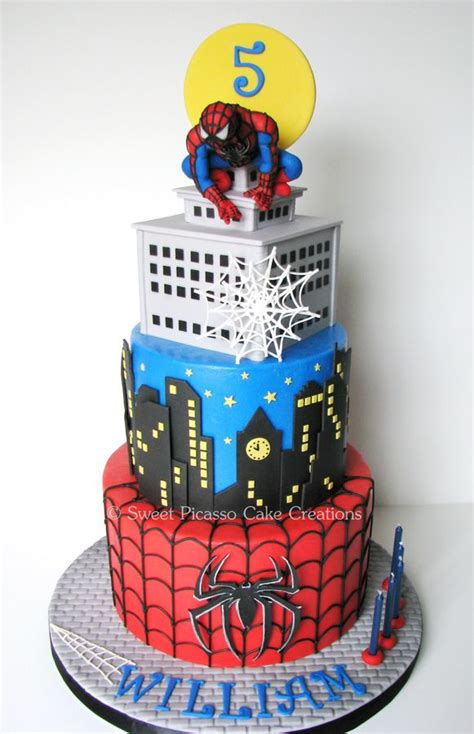 a spiderman cake for a special little classic chocolate cake filled with cookies n
