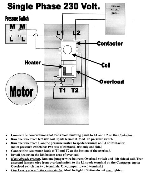 single phase electric motor wiring diagram air compressor magnetic starters mastertoolrepair