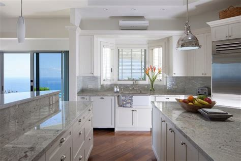 honed snow white granite kitchen transitional with family