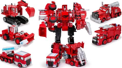 Red Color Defomation Fire Rescue Team Combiner 5 In 1