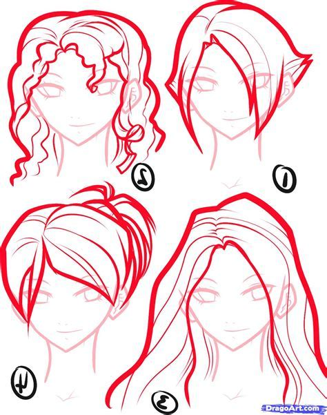 How to Draw Hair For Girls, Step by Step, Hair, People