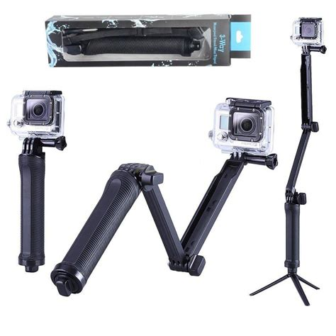 new gopro accessories collapsible 3 way monopod mount grip extension arm tripod for gopro